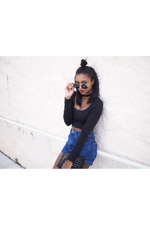 black Wildfox sunglasses - blue high waist American Apparel shorts