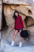 brick red Express sweater - black Monki shorts - ivory Isabel Marant wedges