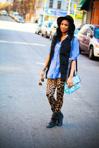 brown leopard print H&M leggings - black studded boots Aldo boots