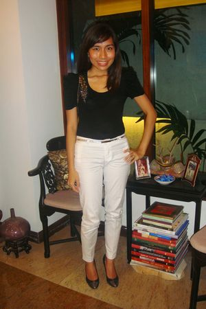 black Forever 21 top - white random brand pants - silver from department store b