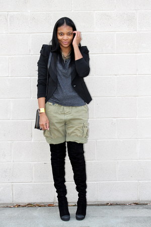 dark khaki H&M shorts - black Fendi boots - charcoal gray Forever 21 shirt - bla
