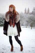 white River Island skirt - dark brown vintage coat