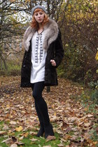 white Zara dress - dark brown vintage coat