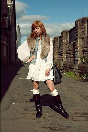 white dress - blue vest - black boots