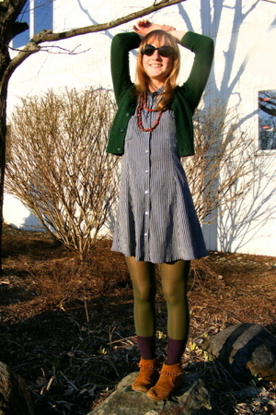 sweater - Old Navy dress - Minnetonka shoes - sunglasses