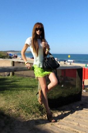 brown Michael Kors shoes - black Chloe bag - chartreuse Saboskirt skirt