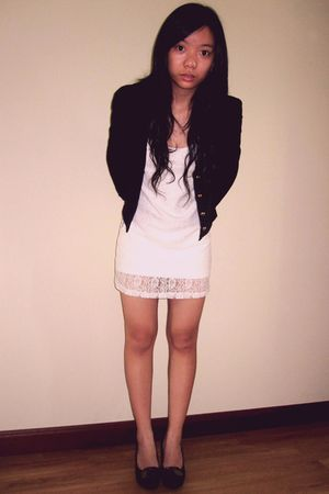 black Forever 21 cardigan - white bought online dress - brown bought at Singapor