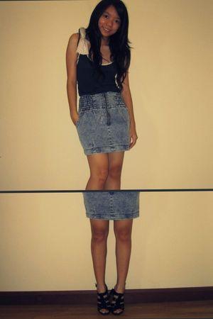 black Charles & Keith shoes - blue Skirt skirt - blue Mango shirt shirt