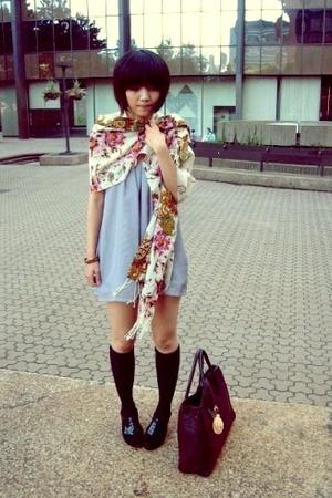 H&M bag - oxford peeptoe shoes - self-customized dress - scarf