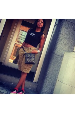 grey and black Dooney & Bourke purse - American Eagle shorts - Vans sneakers