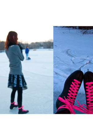 black Urban Outfitters dress - black ice skates boots