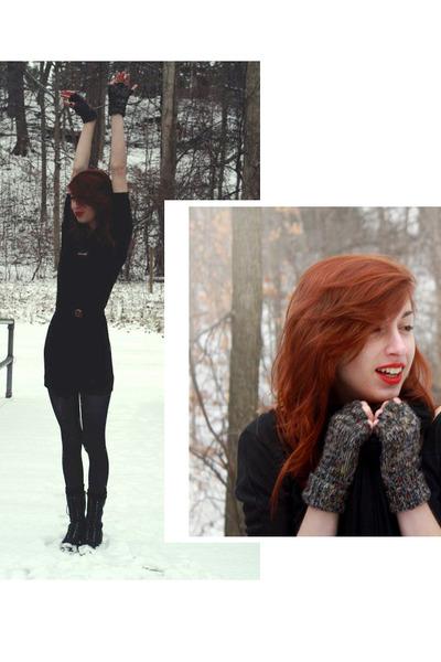 black Target boots - black sewn by me DIY dress - black jersey knit scarf - blac
