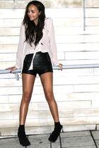 black asos boots - black Topshop shorts - pink Topshop shirt