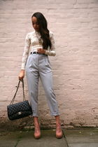 silver American Apparel pants - black Chanel purse