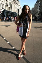 blue Urban Outfitters dress - brown Topshop shoes - white American Apparel shirt