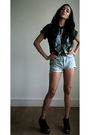 Blue-vintage-shorts-black-vintage-t-shirt-black-jeffrey-campbell-shoes