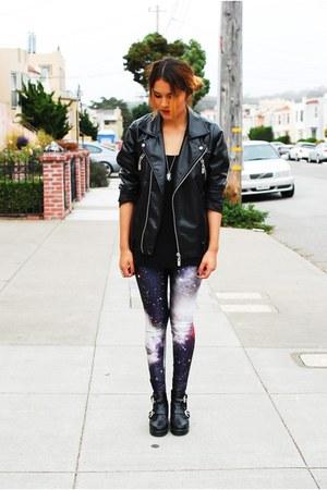 black Tobicom boots - black Nasty Gal jacket - black Galaxy leggings leggings