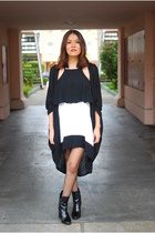 black Nasty Gal dress - Zara boots - Nasty Gal coat - Nasty Gal cardigan