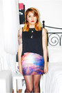 Violet-galaxy-leggings-skirt-black-topshop-top-black-nasty-gal-cardigan