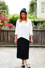 Black-thrifted-vintage-dress-white-zara-sweater-silver-solestruck-heels