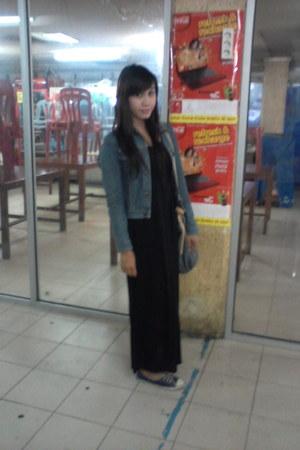 black dress dress - jeans jacket - jeans bag