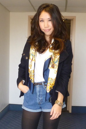 DIY shorts - navy blue H&M jacket - f21 scarf - brown H&M belt - Macys bracelet