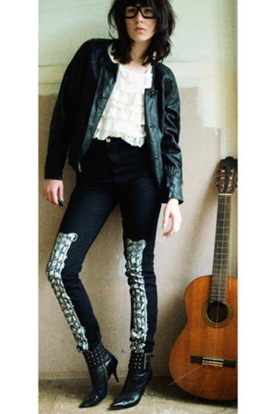 blouse - jeremy scott 3 ksubi jeans - shoes - jacket