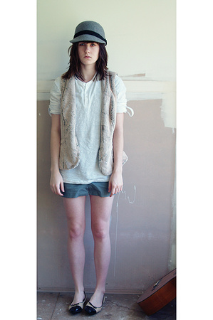 portmans hat - supre dress - cotton on shirt - kathrine vest