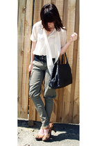 supre pants - olive des olive blouse -  belt - urban originals shoes