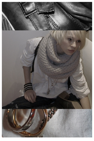 white blouse - gray scarf - silver necklace