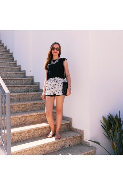 black Bershka bag - off white romwe shorts - black Mexx top