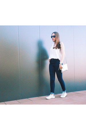 off white Mango shirt - navy Zara jeans - silver Parfois bag