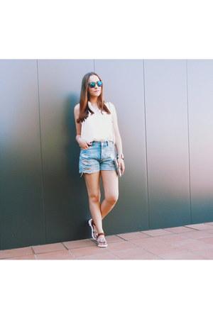 off white Mango shirt - silver Parfois bag - periwinkle pull&bear shorts