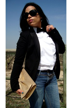 black H&M blazer - navy jeans - white Zara shirt - bronze its gold H&M bag