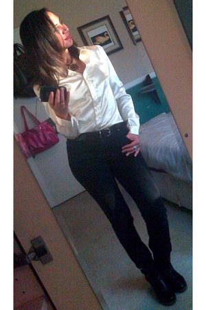 black boots Steve Madden boots - white Zara blouse