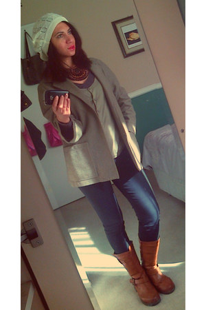 brown H & M boots - green Zara jacket