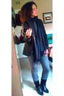 Black-zara-blazer-black-pashmena-scarf
