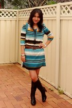 black Nine West boots - turquoise blue asos dress - silver diva bracelet