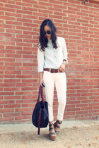 Urban Outfitters shirt - Zara bag - Helmut Lang pants - Joes Jeans wedges