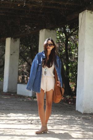 vintage denim calvin klein jacket - James Perse shirt - Zara shorts
