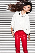 white royal mint blouse - waxed denim royal mint pants