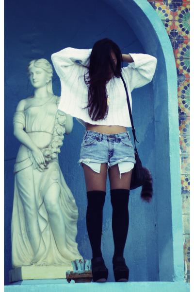 denim vintage denim shorts - platforms Gee Wa Wa shoes - knitted vintage sweater