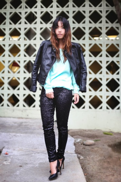 black sequined victorias secret pink leggings