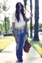 Paper Denim & Cloth jeans - knit Zara sweater - fringe tee DIY shirt - leather p