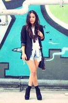 Forever 21 boots - H&M blazer - calvin klein bag - vintage denim Levis shorts