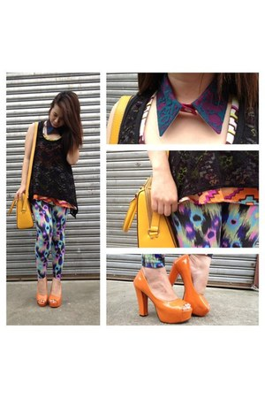 carrot orange Celine pumps - aquamarine rage republic tights