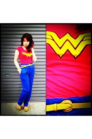 blue unbranded pants - red Wonder Woman t-shirt - mustard skinny unbranded belt