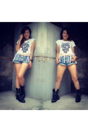 black military Forever21 boots - white fringe Pneumo shirt