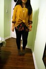 Gold-thrifted-necklace-mustard-h-m-sweater-black-talula-leggings