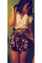 black floral shorts Forever 21 skirt - white Urban Behaviour shirt